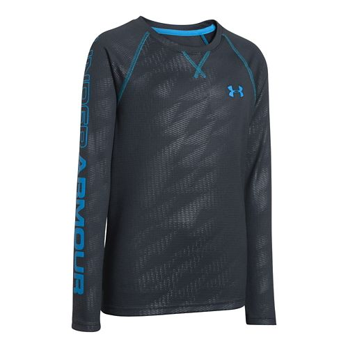 Kids Under Armour Boys Dynamism Long Sleeve No Zip Technical Tops - Anthracite/Electric Blue L ...