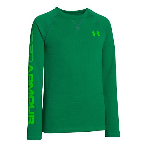 Kids Under Armour Boys Dynamism Long Sleeve No Zip Technical Tops - Blade/Green XS