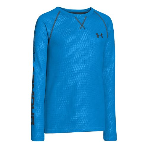 Kids Under Armour Boys Dynamism Long Sleeve No Zip Technical Tops - Electric Blue/Anthracite L ...