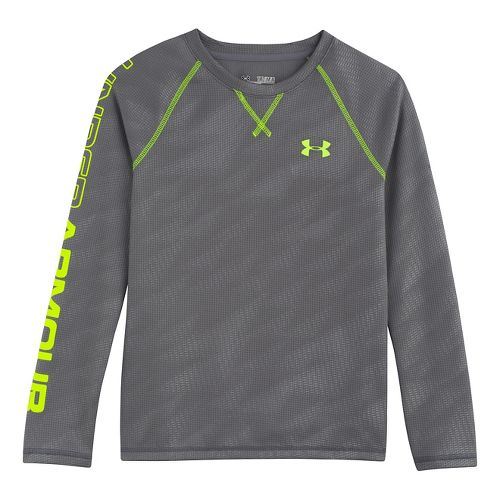 Kids Under Armour Boys Dynamism Long Sleeve No Zip Technical Tops - Graphite/High Vis Yellow ...