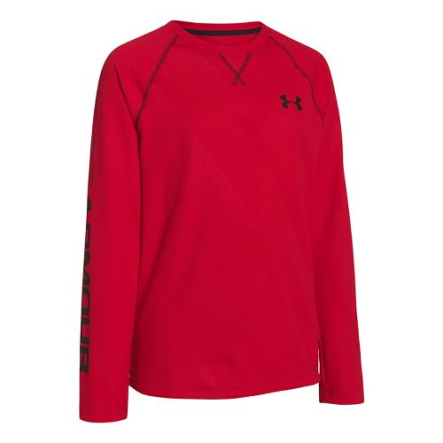 Kids Under Armour Boys Dynamism Long Sleeve No Zip Technical Tops - Red/Black XS