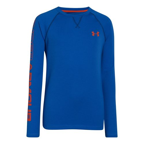 Kids Under Armour Boys Dynamism Long Sleeve No Zip Technical Tops - Scatter/Volcano XL