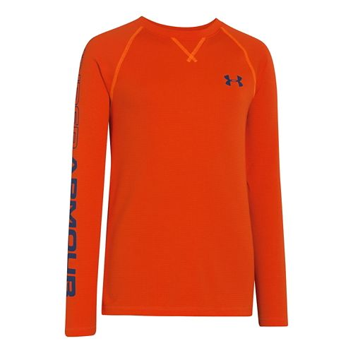 Kids Under Armour Boys Dynamism Long Sleeve No Zip Technical Tops - Volcano/Deep Space Blue ...