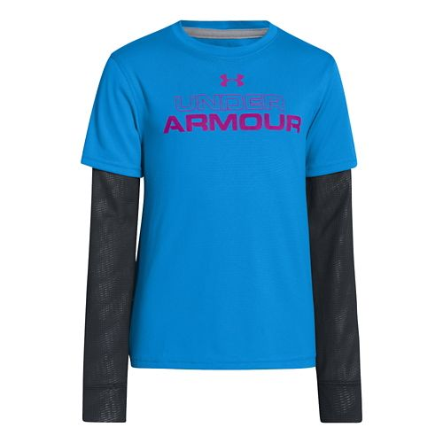 Kids Under Armour Boys Dynamism 2-IN-1 Longsleeve Technical Tops - Electric Blue XL