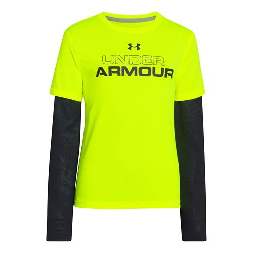 Kids Under Armour Boys Dynamism 2-IN-1 Longsleeve Technical Tops - High Vis Yellow XS