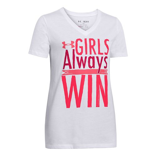 Kids Under Armour Girls Always Win T Short Sleeve Technical Tops - White L