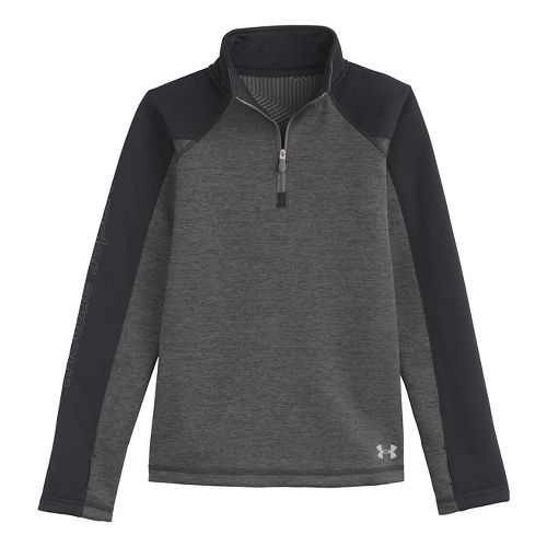 Kids Under Armour Girls Rally ColdGear Infrared Long Sleeve 1/2 Zip Technical Tops - Black ...