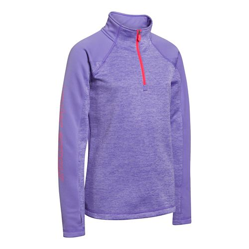 Kids Under Armour Girls Rally ColdGear Infrared Long Sleeve 1/2 Zip Technical Tops - Flax ...