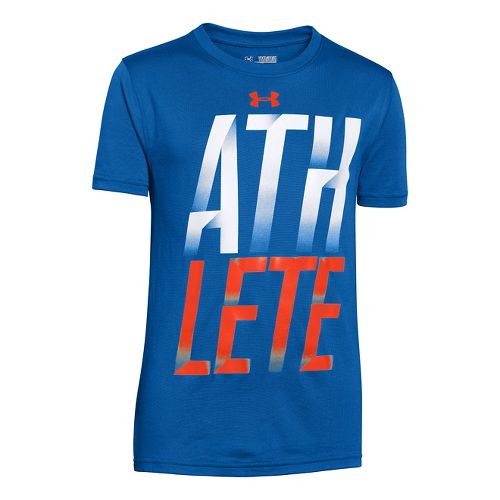 Mens Under Armour Boys Athelete T Short Sleeve Technical Tops - Scatter XS