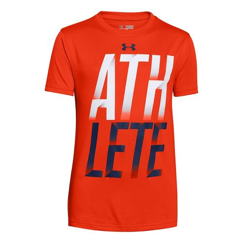 Mens Under Armour Boys Athelete T Short Sleeve Technical Tops - Volcano XS