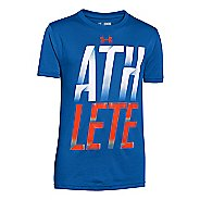 Mens Under Armour Boys Athelete T Short Sleeve Technical Tops