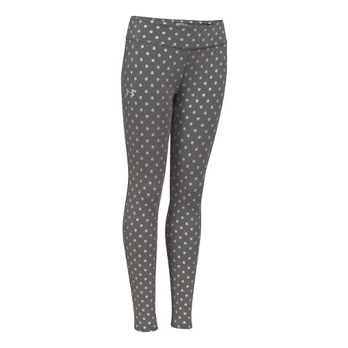 Kids Under Armour Girls Sonic Printed Leggings Fitted Tights - Carbon Heather XL