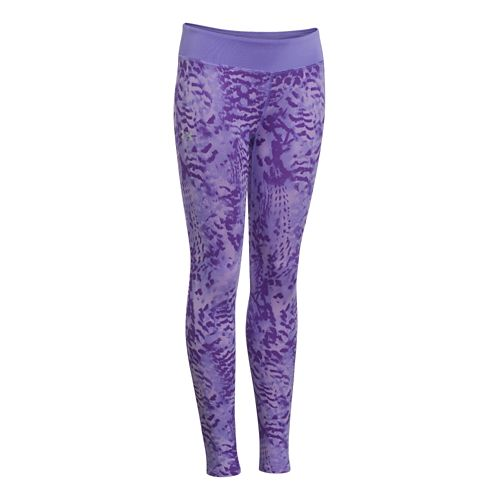 Kids Under Armour Girls Sonic Printed Leggings Fitted Tights - Flax XL