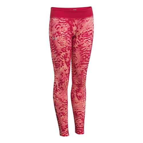 Kids Under Armour Girls Sonic Printed Leggings Fitted Tights - Passion M