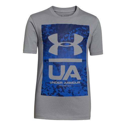 Kids Under Armour Boys Knockout T Short Sleeve Technical Tops - Steel XS