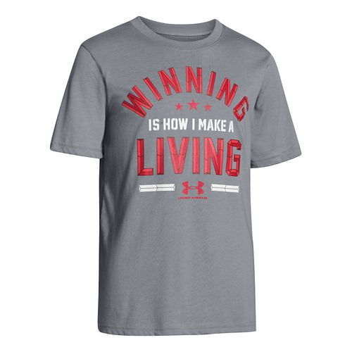 Kids Under Armour Boys Winning For A Living T Short Sleeve Technical Tops - Steel ...
