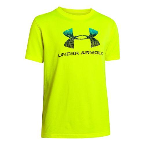 Kids Under Armour Boys Big Logo Plus T Short Sleeve Technical Tops - High Vis ...