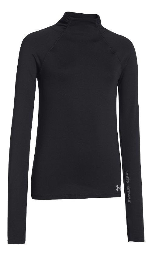 Under Armour Girls ColdGear Funnel Mock Long Sleeve No Zip Technical Tops - Black S