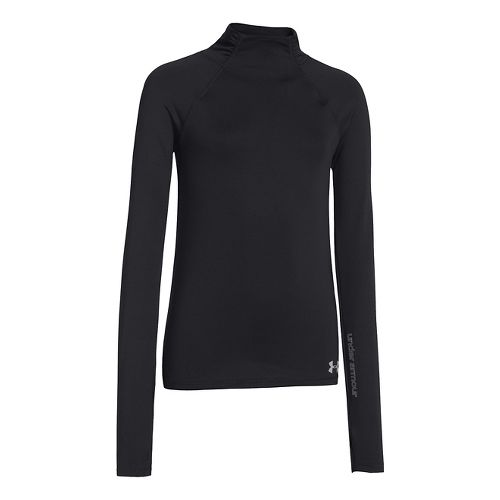 Kids Under Armour Girls ColdGear Funnel Mock Long Sleeve No Zip Technical Tops - Black S