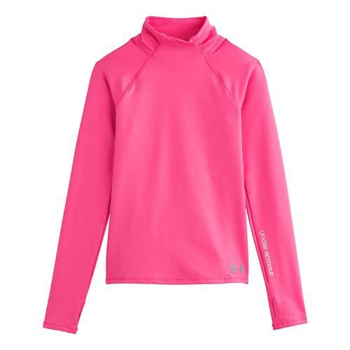 Kids Under Armour Girls ColdGear Funnel Mock Long Sleeve No Zip Technical Tops - Cerise ...