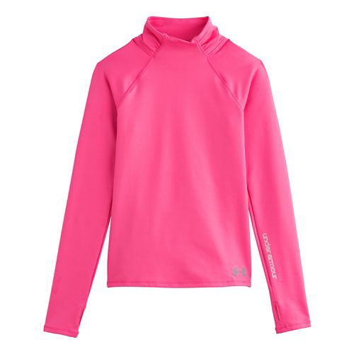 Kids Under Armour Girls ColdGear Funnel Mock Long Sleeve No Zip Technical Tops - Cerise ...