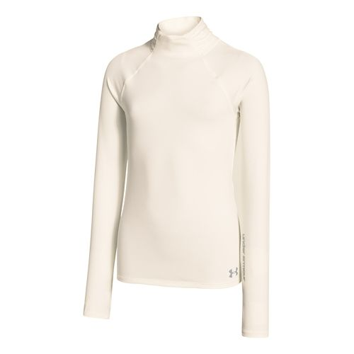 Kids Under Armour Girls ColdGear Funnel Mock Long Sleeve No Zip Technical Tops - Ivory ...