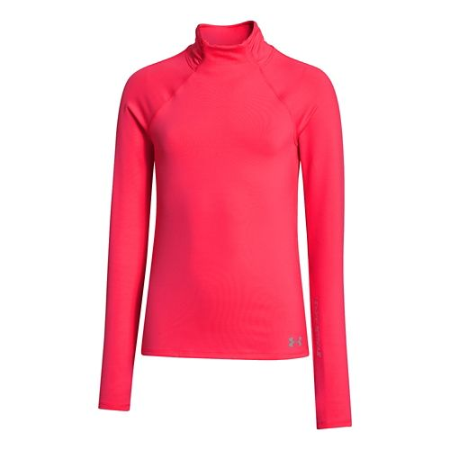 Kids Under Armour Girls ColdGear Funnel Mock Long Sleeve No Zip Technical Tops - Neo ...