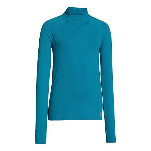 Kids Under Armour Girls ColdGear Funnel Mock Long Sleeve No Zip Technical Tops - Teal ...