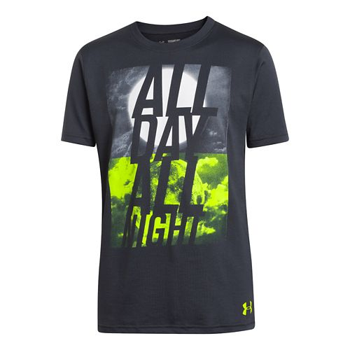 Kids Under Armour Boys Day and Night T Short Sleeve Technical Tops - Anthracite XS ...