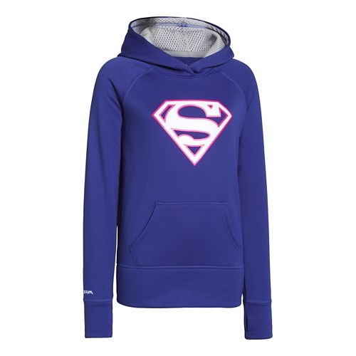 Kids Under Armour Girls Glow Superhero Storm Armour Fleece Hoody Warm-Up Hooded Jackets - ...