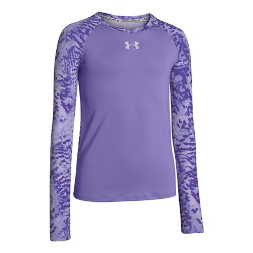 Kids Under Armour Girls Sonic Printed Long Sleeve No Zip Technical Tops - Flax XS ...