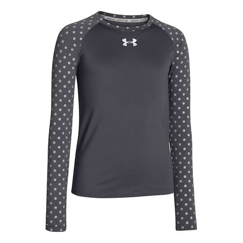 Kids Under Armour Girls Sonic Printed Long Sleeve No Zip Technical Tops - Lead M ...