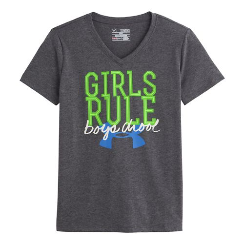 Kids Under Armour Girls Rule Glow T Short Sleeve Technical Tops - Carbon Heather S ...