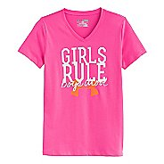 Kids Under Armour Girls Rule Glow T Short Sleeve Technical Tops