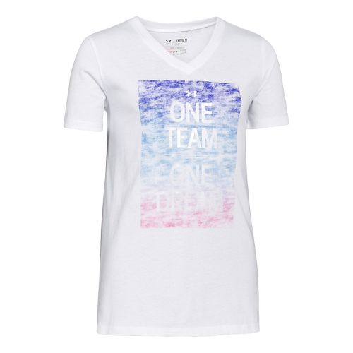 Kids Under Armour Girls One Team T Short Sleeve Technical Tops - White XS