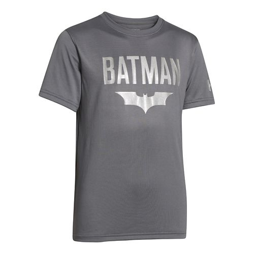 Kids Under Armour Boys Batman Victory T Short Sleeve Technical Tops - Graphite XL