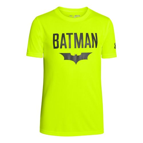 Kids Under Armour Boys Batman Bat Cave T Short Sleeve Technical Tops - High Vis ...