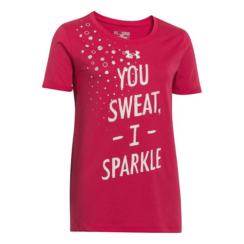 Kids Under Armour Girls Sweat Sparkle T Short Sleeve Technical Tops - Passion L
