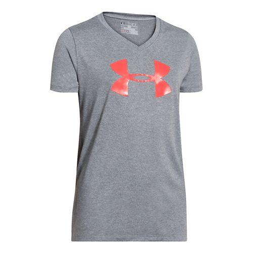 Kids Under Armour Girls UA Big Logo Tech V-Neck Short Sleeve Technical Tops - Gray/After ...