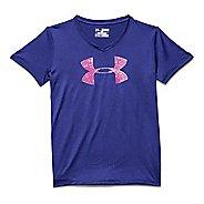 Kids Under Armour Girls UA Big Logo Tech V-Neck Short Sleeve Technical Tops