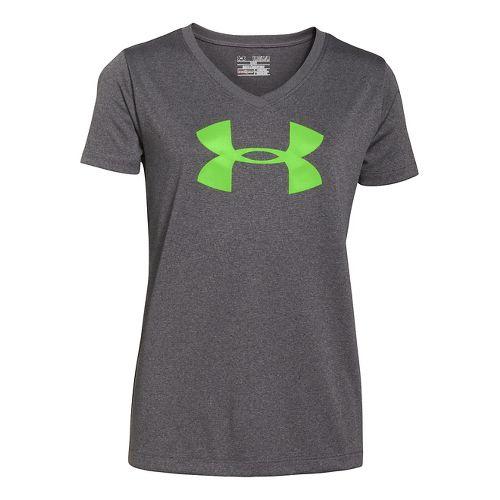 Kids Under Armour Girls UA Big Logo Tech V-Neck Short Sleeve Technical Tops - Carbon ...