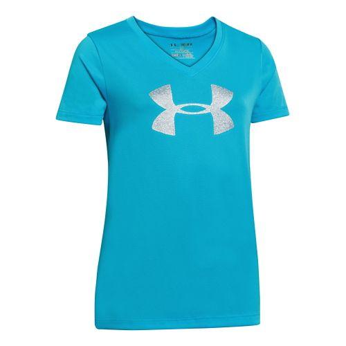 Kids Under Armour Girls UA Big Logo Tech V-Neck Short Sleeve Technical Tops - Cortez ...