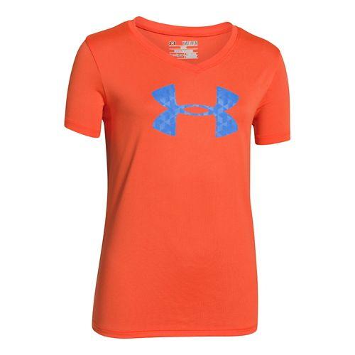 Kids Under Armour Girls UA Big Logo Tech V-Neck Short Sleeve Technical Tops - Fire ...