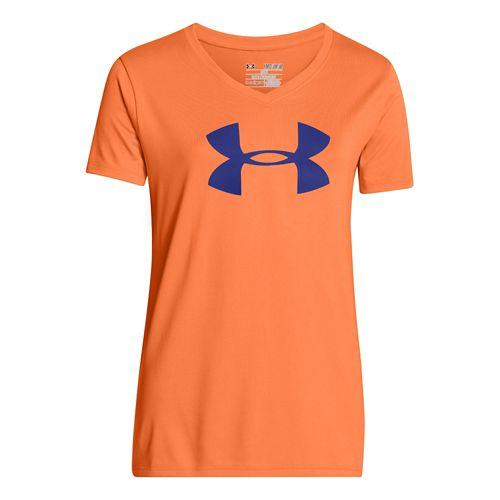 Kids Under Armour Girls UA Big Logo Tech V-Neck Short Sleeve Technical Tops - Sunset ...