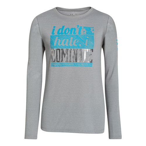 Kids Under Armour Girls Dominate Longsleeve T Short Sleeve Technical Tops - True Grey Heather ...