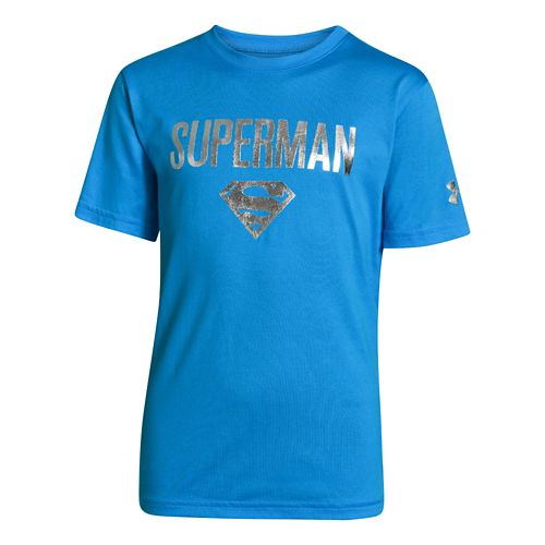 Kids Under Armour Boys Superman Victory T Short Sleeve Technical Tops - Electric Blue L ...