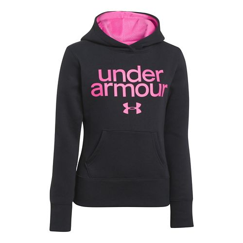 Kids Under Armour Girls Impulse Holiday Cotton Hoody Warm-Up Hooded Jackets - Black XS