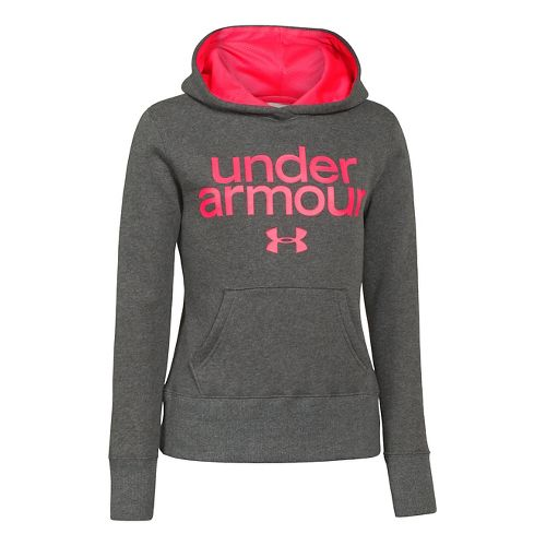 Kids Under Armour Girls Impulse Holiday Cotton Hoody Warm-Up Hooded Jackets - Carbon Heather S ...