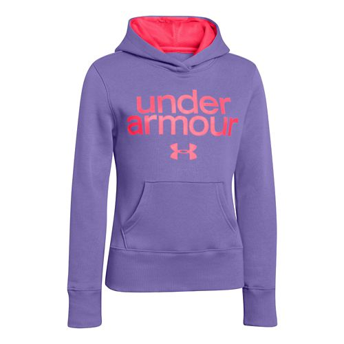 Kids Under Armour Girls Impulse Holiday Cotton Hoody Warm-Up Hooded Jackets - Flax XL
