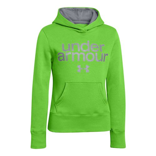 Kids Under Armour Girls Impulse Holiday Cotton Hoody Warm-Up Hooded Jackets - Gecko Green M ...